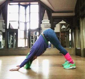 Abi Amber Colour Yoga Color Downward Dog Pose