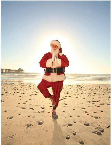 Santa Tree Pose Vikasana Father Christmas Brighton Shoreham-by-Sea